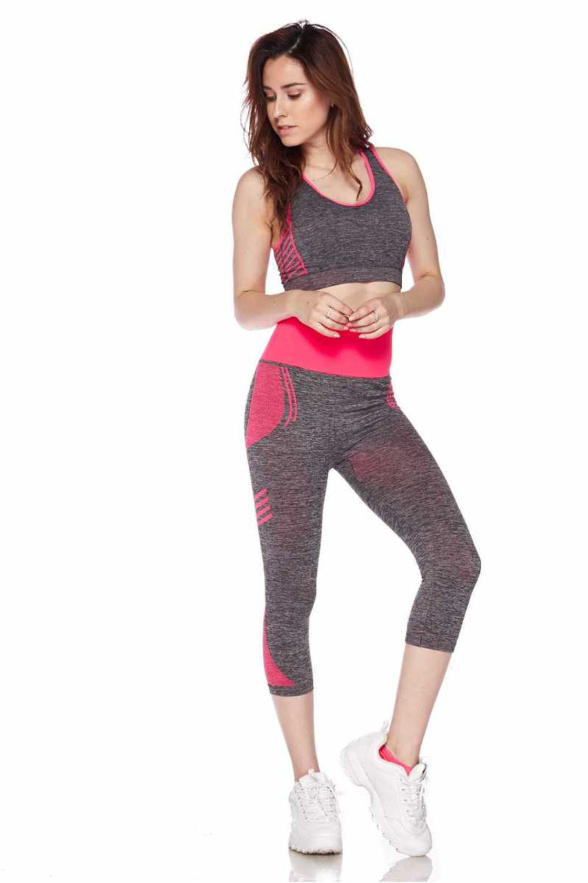 Front view of Fuchsia Racerback Tank Top and Capris Activewear Set