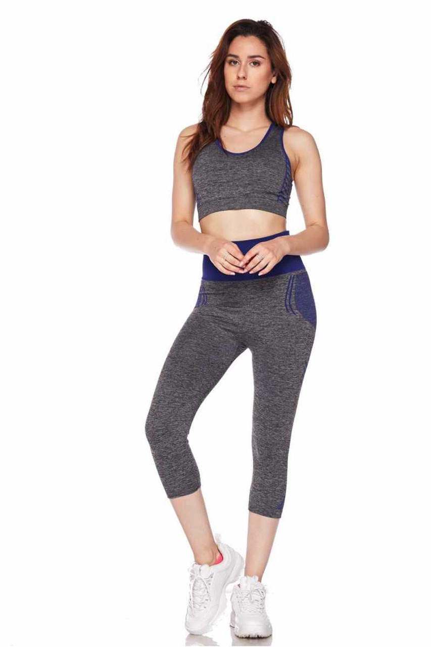 Front view of Blue Racerback Tank Top and Capris Activewear Set