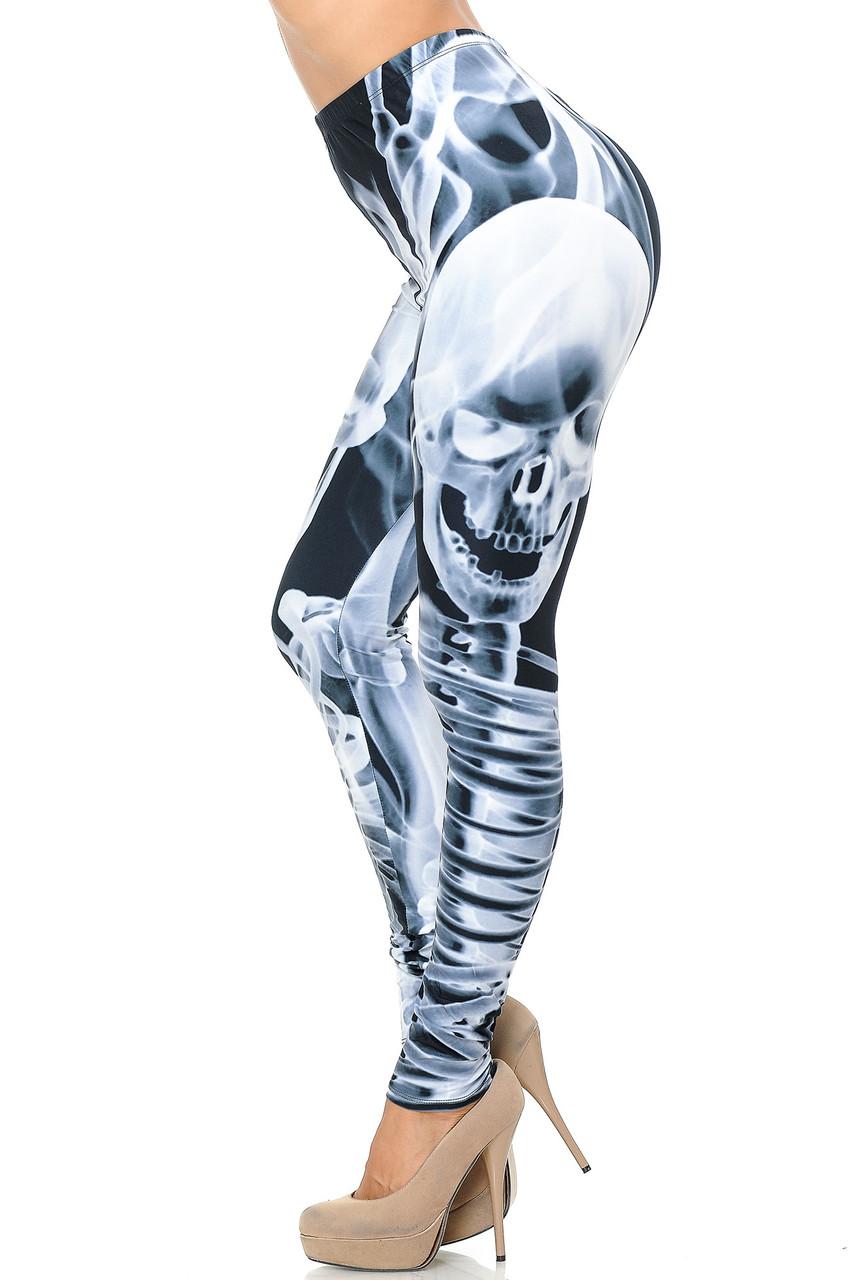 Left side view of Creamy Soft Skeleton Resurrection Leggings - USA Fashion™