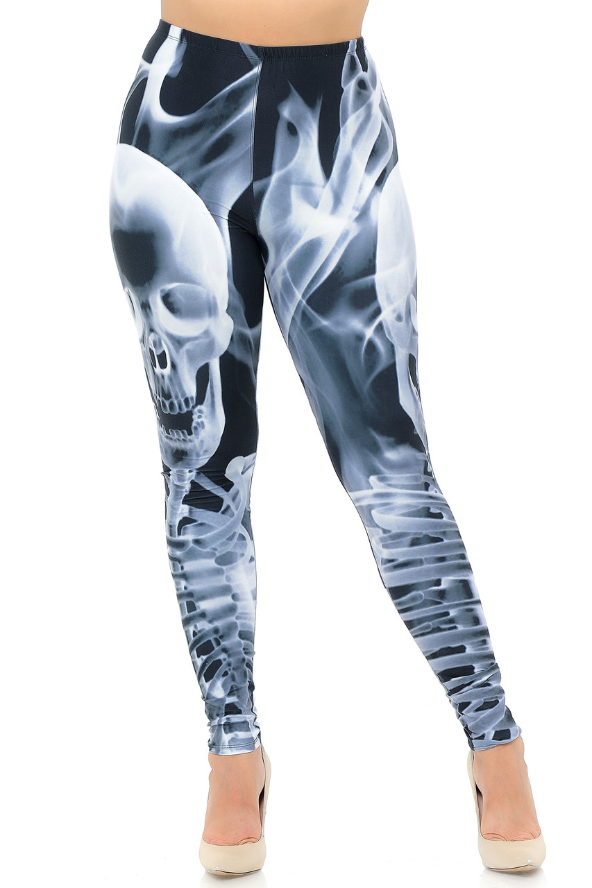 Front view of Creamy Soft Skeleton Resurrection Plus Size Leggings - USA Fashion™  with an elastic waist that comes up to about mid rise.