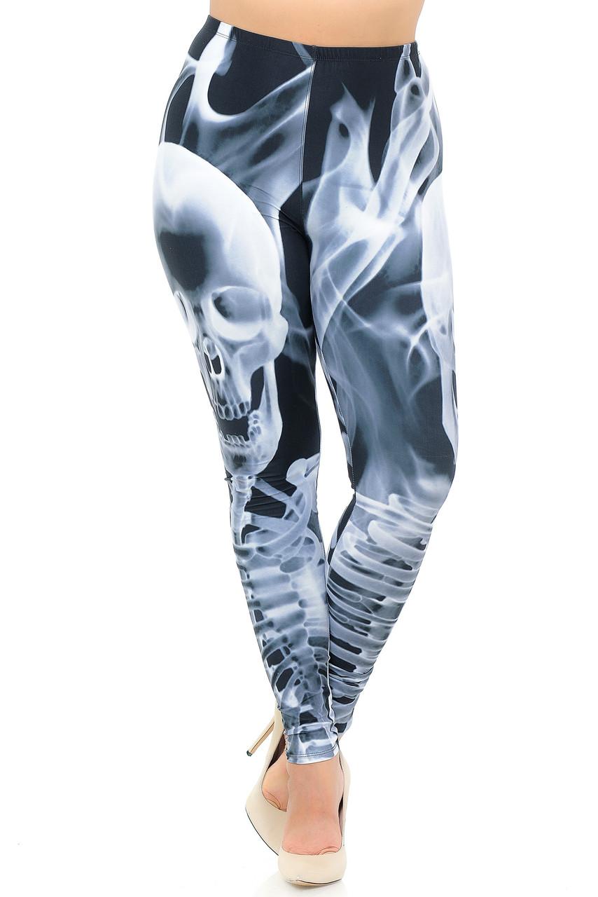 Front crossed foot view of Creamy Soft Skeleton Resurrection Plus Size Leggings - USA Fashion™