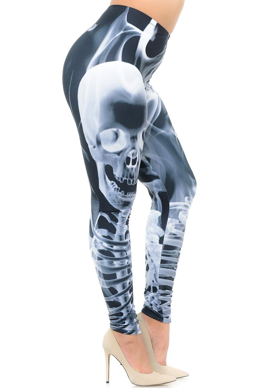 Right side view of Creamy Soft Skeleton Resurrection Extra Plus Size Leggings - 3X-5X - USA Fashion™