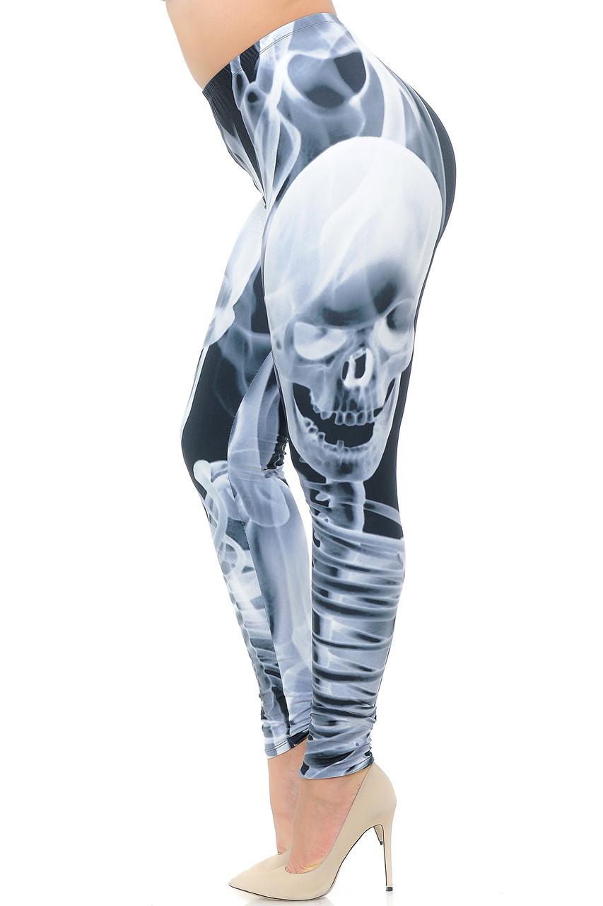 Left side view of Creamy Soft Skeleton Resurrection Extra Plus Size Leggings - 3X-5X - USA Fashion™