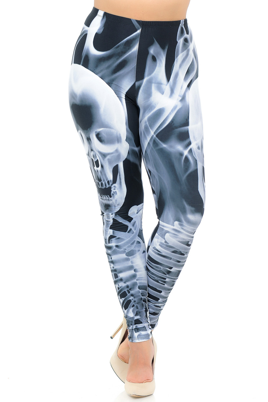 Front crossed foot view of Creamy Soft Skeleton Resurrection Extra Plus Size Leggings - 3X-5X - USA Fashion™