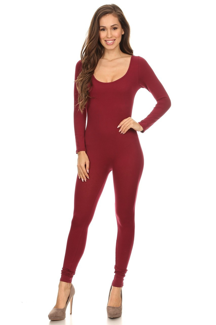 Front side image of Burgundy USA Full Long Sleeve Cotton Jumpsuit with full length hem.