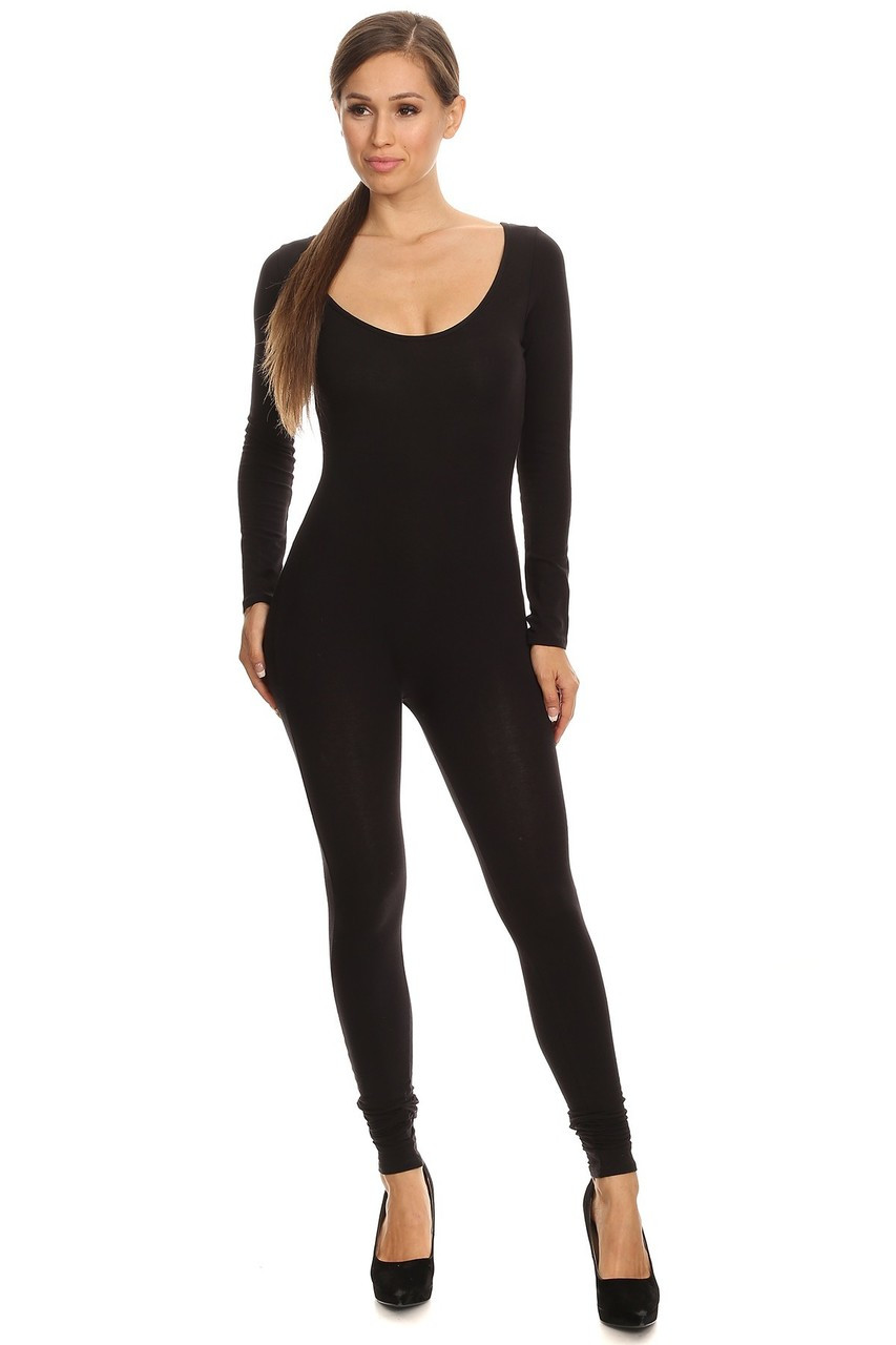 Front side image of Black USA Full Long Sleeve Cotton Jumpsuit
