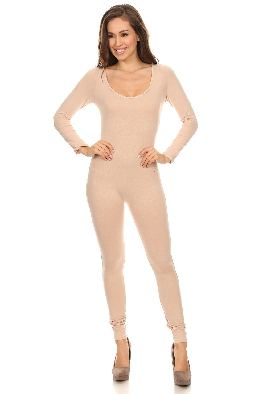 Front side image of Beige USA Full Long Sleeve Cotton Jumpsuit