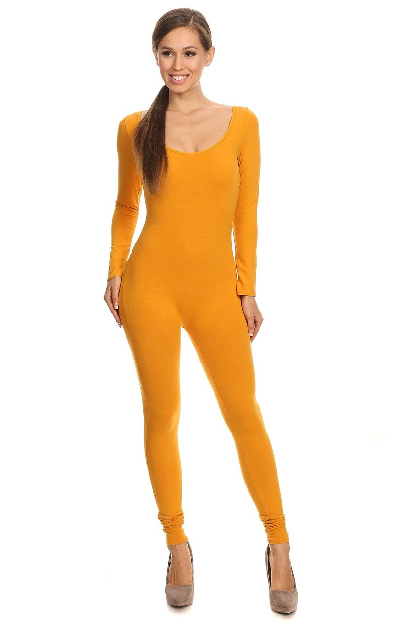 Front side image of Mustard USA Full Long Sleeve Cotton Jumpsuit