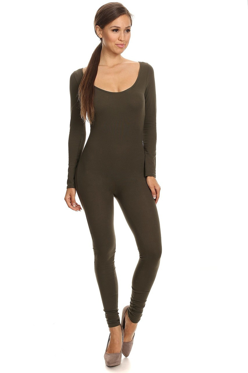 Front Side Image of Olive USA Full Long Sleeve Cotton Jumpsuit
