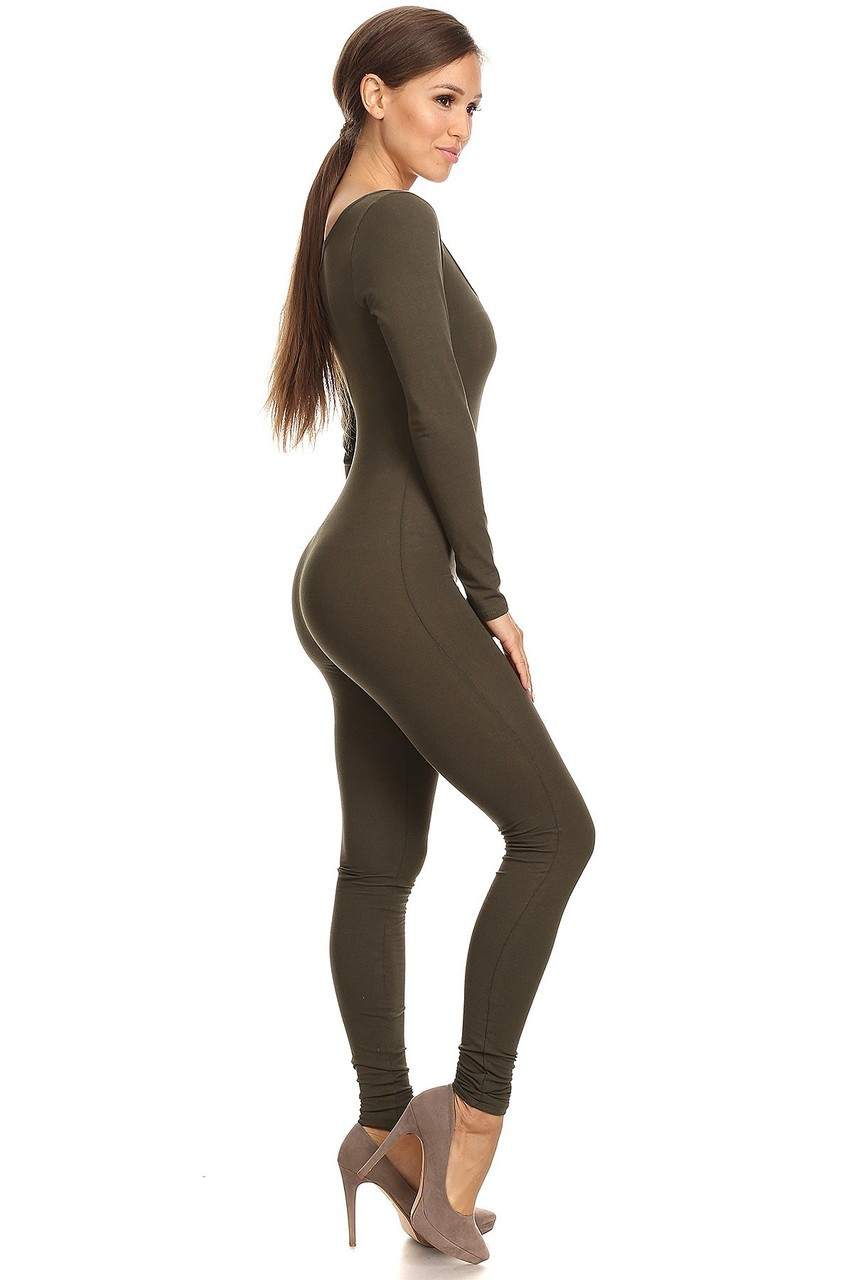 Right Side Image of Olive USA Full Long Sleeve Cotton Jumpsuit