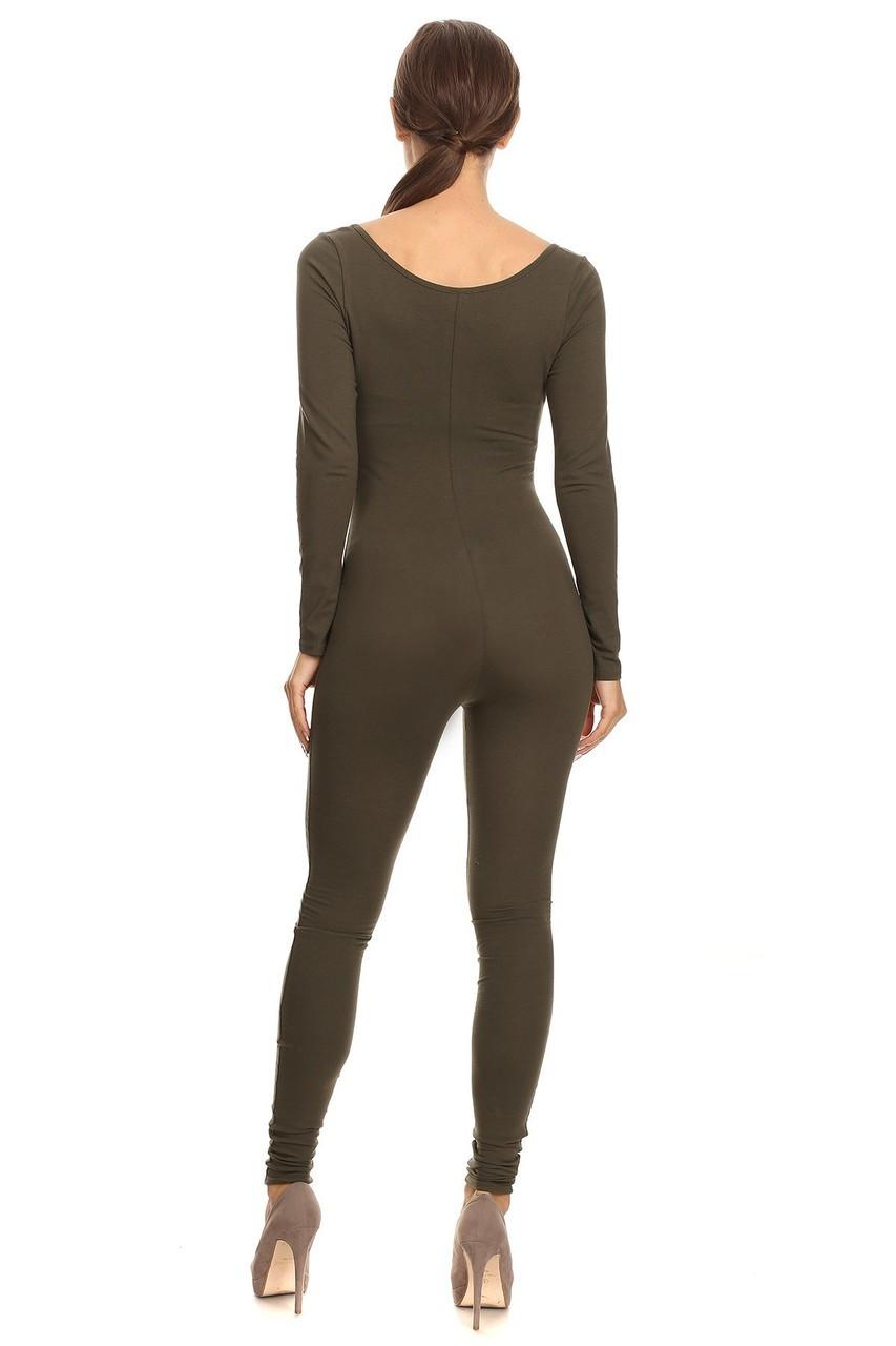 Back side image of Olive USA Full Long Sleeve Cotton Jumpsuit