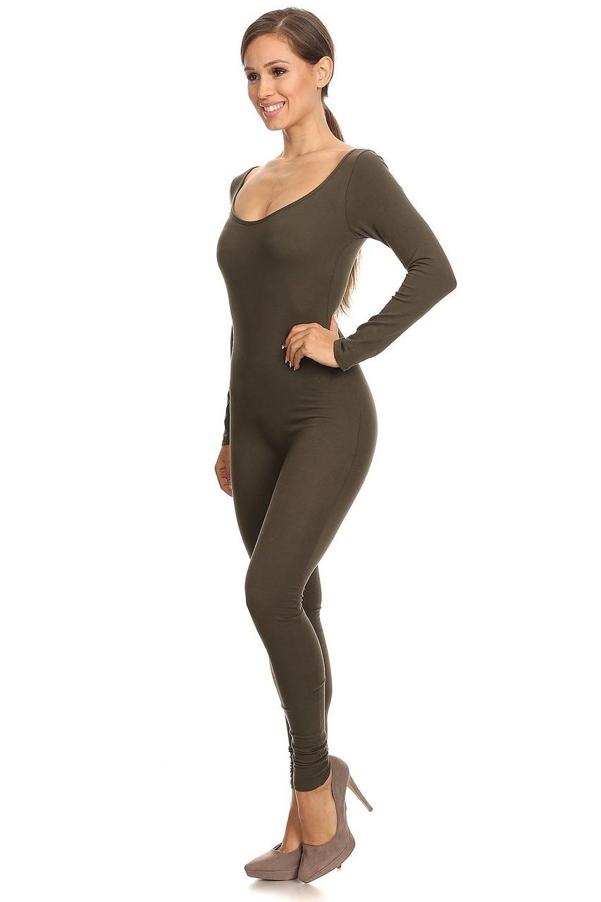 Left Side Image of Olive USA Full Long Sleeve Cotton Jumpsuit