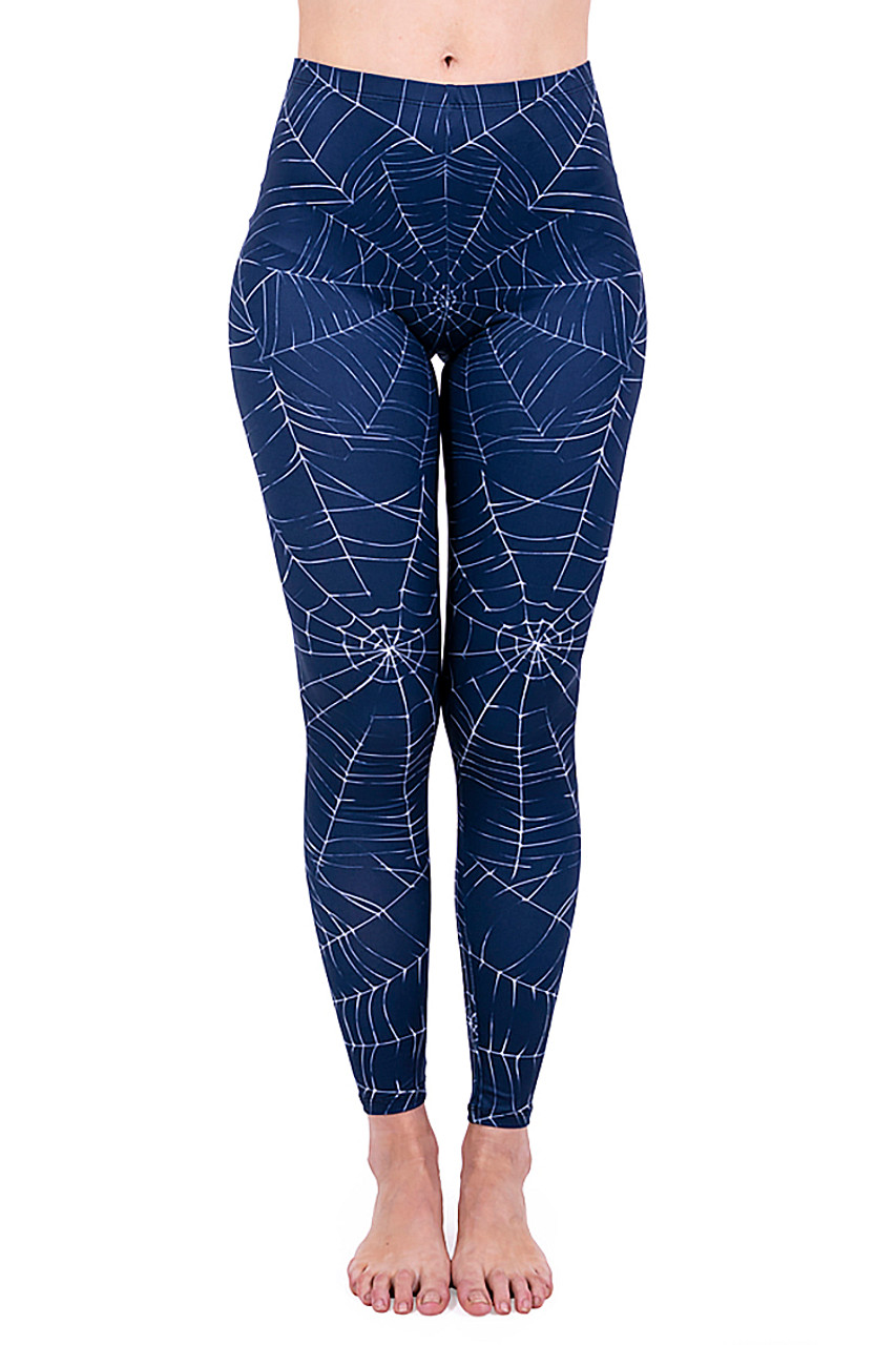 Front Creamy Soft Spiderwebs Halloween Leggings -  By USA Fashion™ with a white on navy web design.