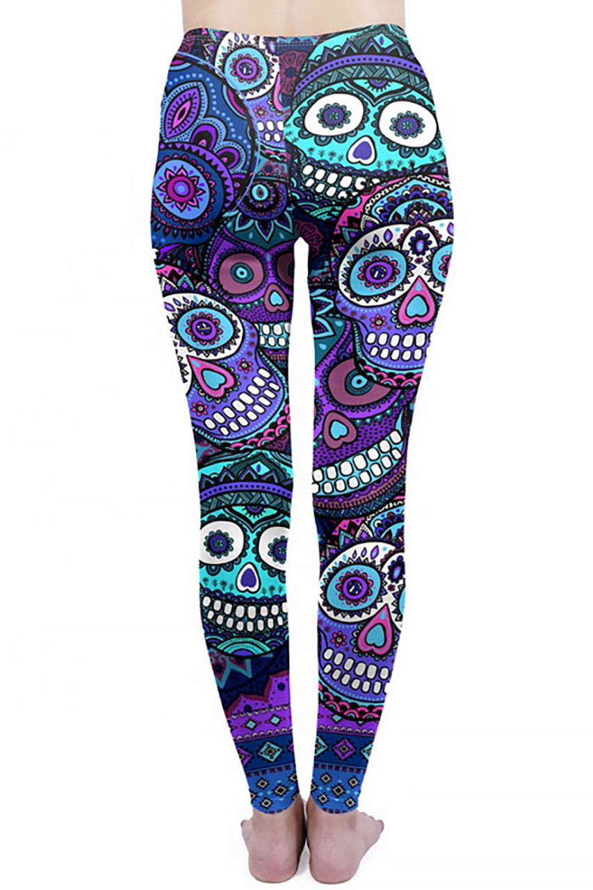 Rear view of Creamy Soft Jumbo Purple Sugar Skulls Plus Size Leggings - By USA Fashion™ with a flattering body-hugging fit.