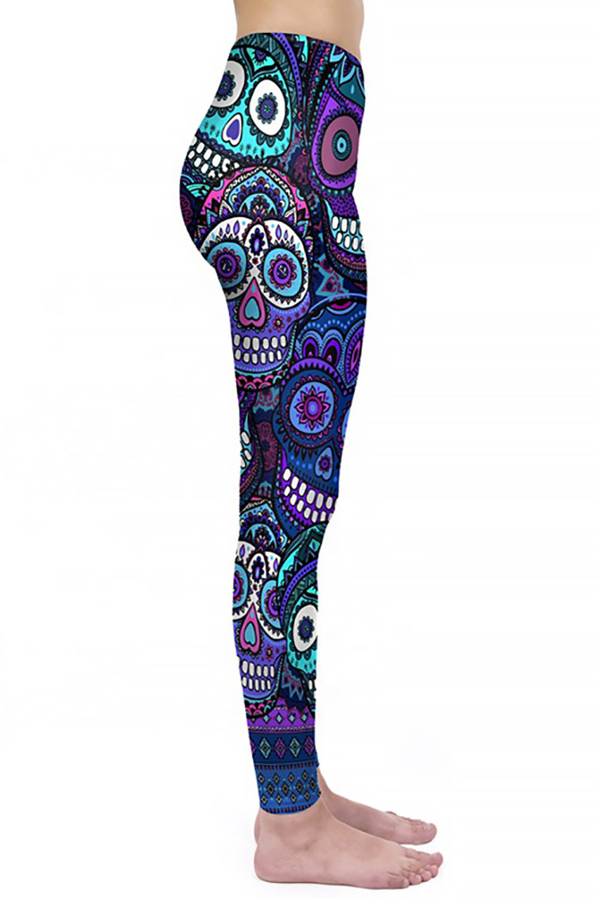 Right side view of Creamy Soft Jumbo Purple Sugar Skulls Plus Size Leggings - By USA Fashion™