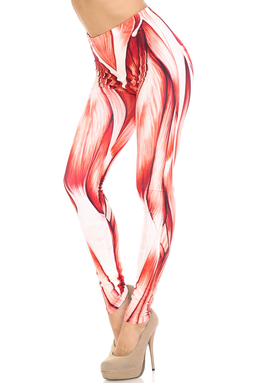 45 degree view of Creamy Soft Muscle Extra Plus Size Leggings - 3X-5X - By USA Fashion™ with a cool anatomical muscle design.