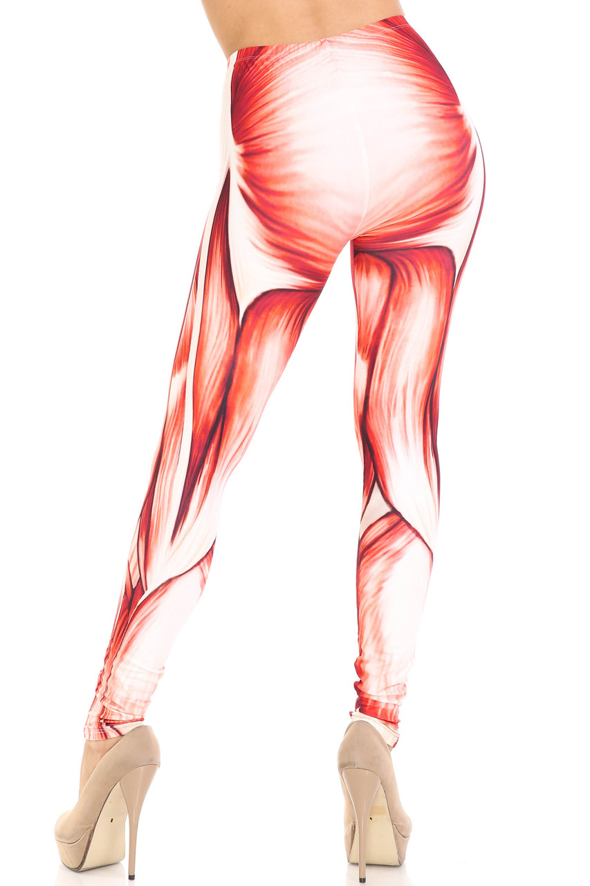 Rear view of Creamy Soft Muscle Extra Plus Size Leggings - 3X-5X - By USA Fashion™ showing the body contouring muscular design.