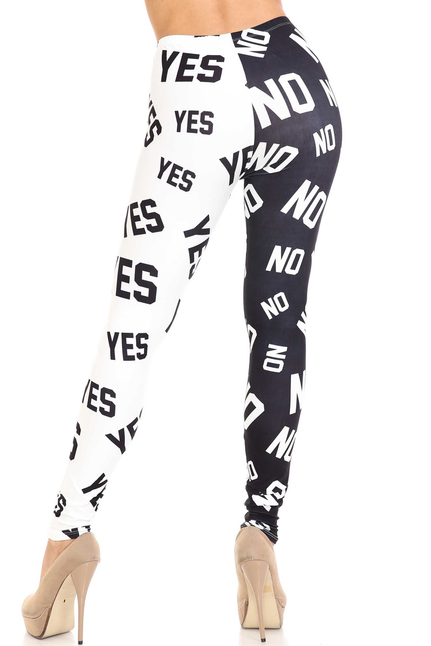 Rear view of Creamy Soft Yes and No Plus Size Leggings -  By USA Fashion™ showing the split design continued on the back.