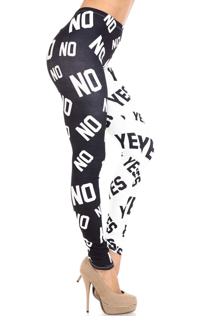 """Right side of Creamy Soft Yes and No Plus Size Leggings - By USA Fashion™ showing the white on black """"no"""" print."""