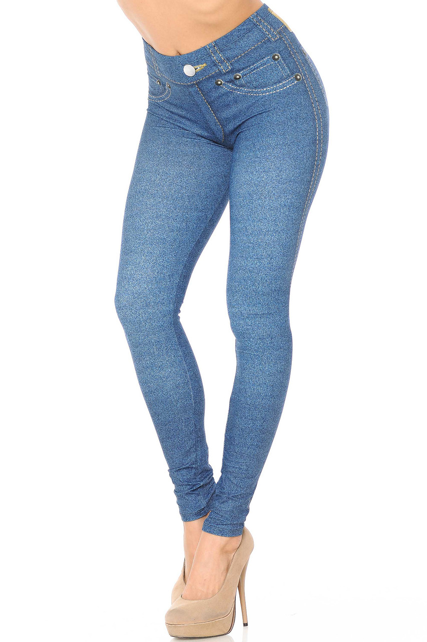 45 degree view of Creamy Soft Dark Blue Denim Jean Extra Plus Size Leggings - 3X-5X - By USA Fashion™ with a realistic denim look with printed on details.