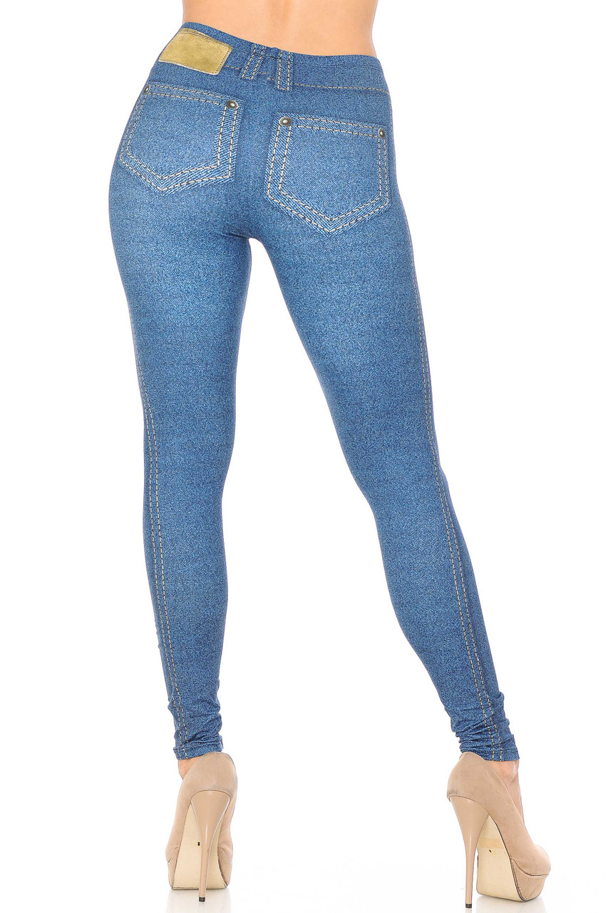 Rear view of our Creamy Soft Dark Blue Denim Jean Extra Plus Size Leggings - 3X-5X - By USA Fashion™ showing the sleek body hugging fit that gives the appearance of skinny jeans.
