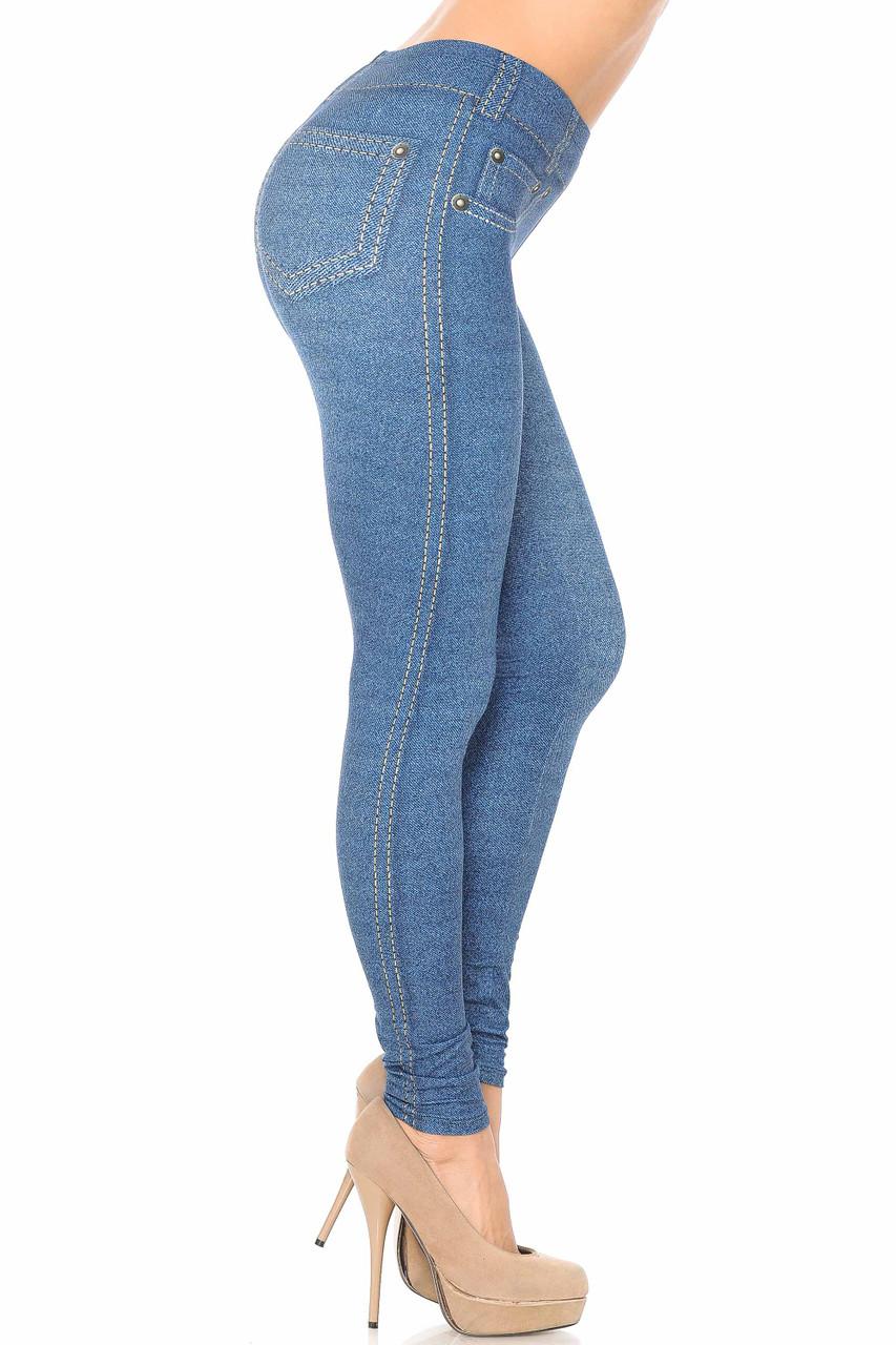 Right side image of Creamy Soft Dark Blue Denim Jean Extra Plus Size Leggings - 3X-5X - By USA Fashion™