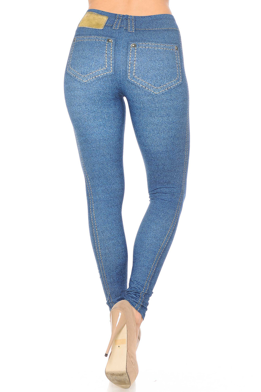 Rear view of Creamy Soft Dark Blue Denim Jean Extra Plus Size Leggings - 3X-5X - By USA Fashion™ showing printed on pockets and label.
