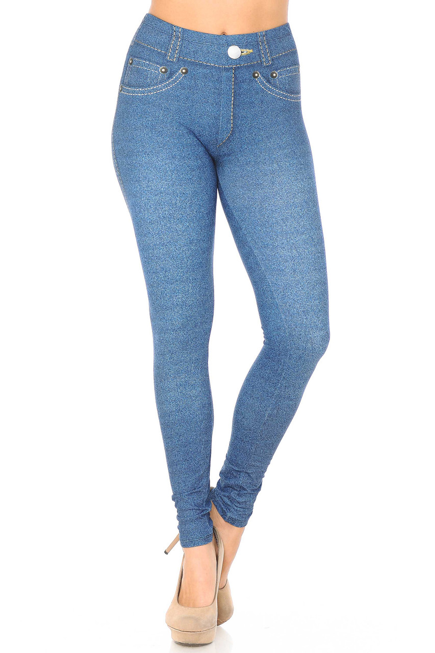Front view of full length Creamy Soft Dark Blue Denim Jean Extra Plus Size Leggings - 3X-5X - By USA Fashion™ with a mid rise elastic comfort waist.
