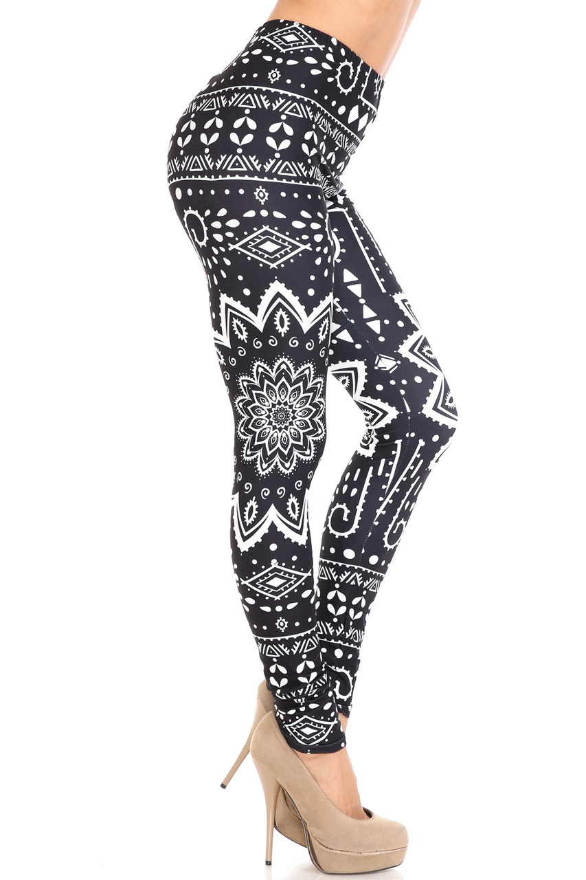 Right side image of Creamy Soft Black Tribal Mandala Leggings - By USA Fashion™