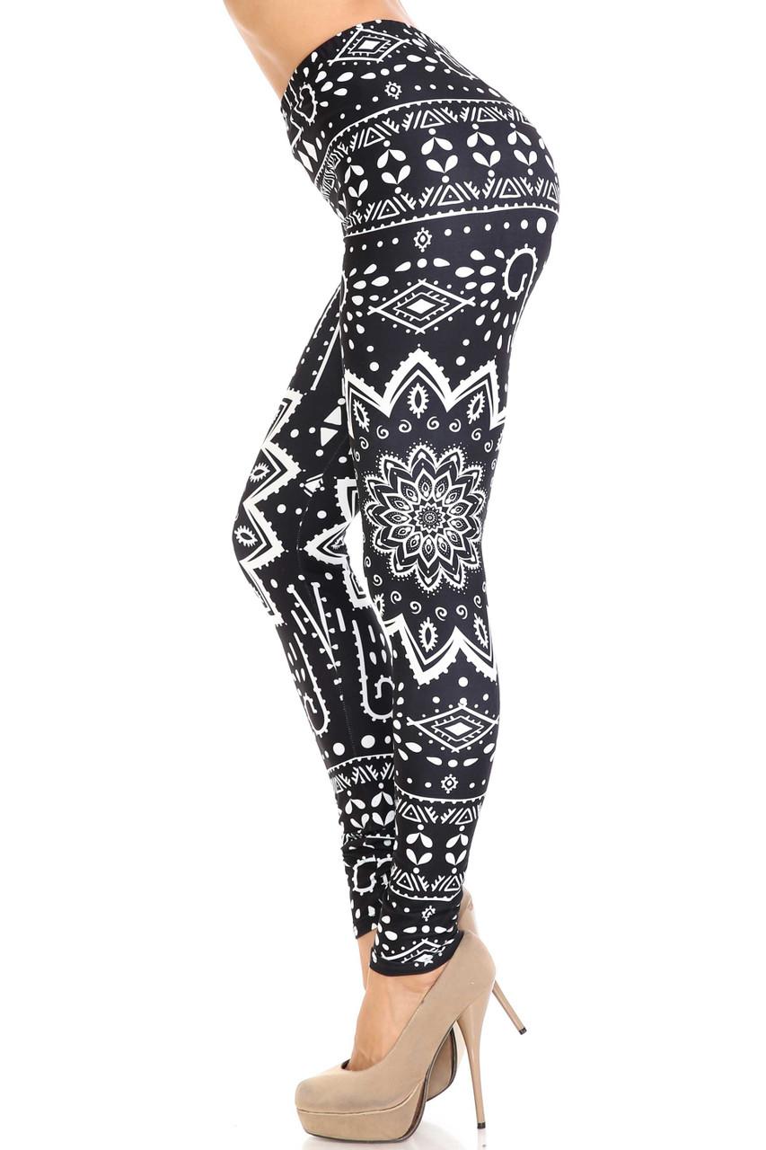 Left side image of Creamy Soft Black Tribal Mandala Leggings - By USA Fashion™