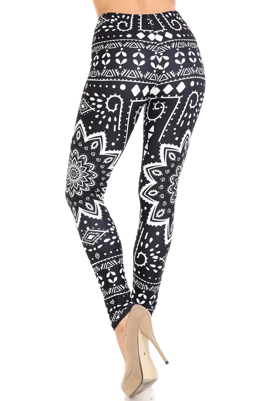 Back view of Creamy Soft Black Tribal Mandala Leggings  - By USA Fashion™ showing a figure flattering fitted look.