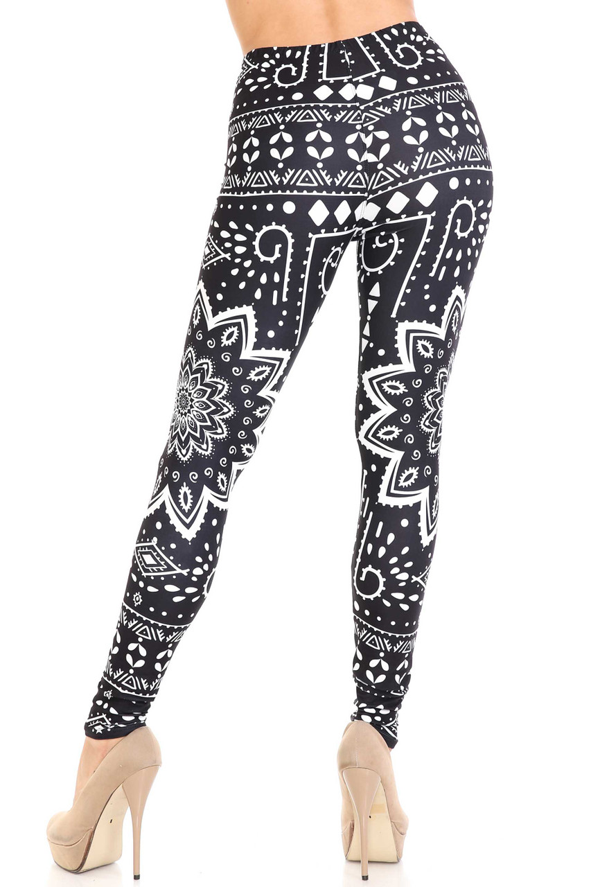 Rear view image of Creamy Soft Black Tribal Mandala Plus Size Leggings - By USA Fashion™ showing the continued 360 degree design.