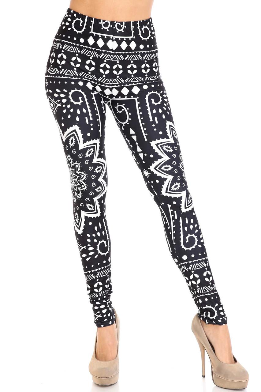 Front view image of Creamy Soft Black Tribal Mandala Plus Size Leggings -  By USA Fashion™ with a skinny leg full length hem.