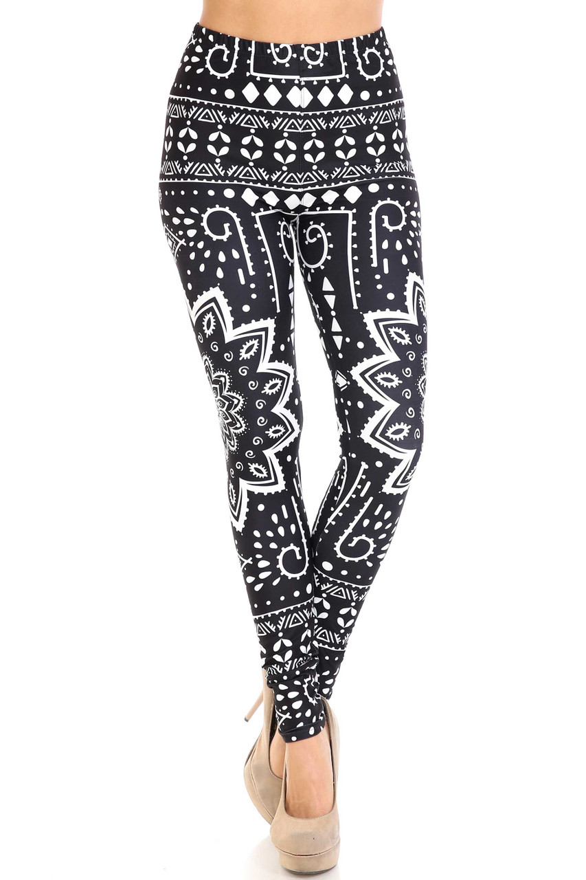 Front view image of Creamy Soft Black Tribal Mandala Plus Size Leggings - By USA Fashion™ with a mid rise elasticized waistband.