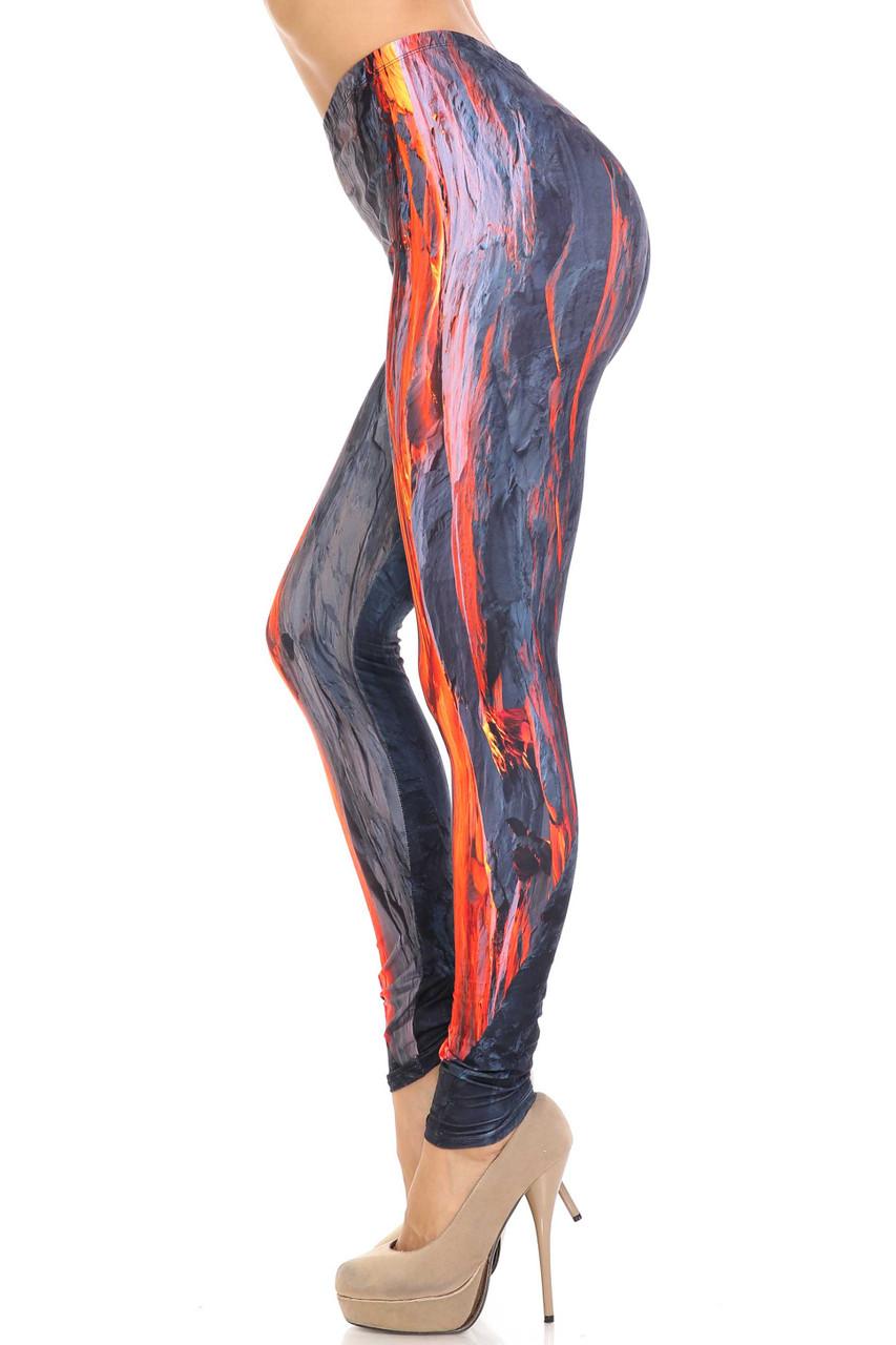 Left side image of Creamy Soft Hot Lava Plus Size Leggings - By USA Fashion™