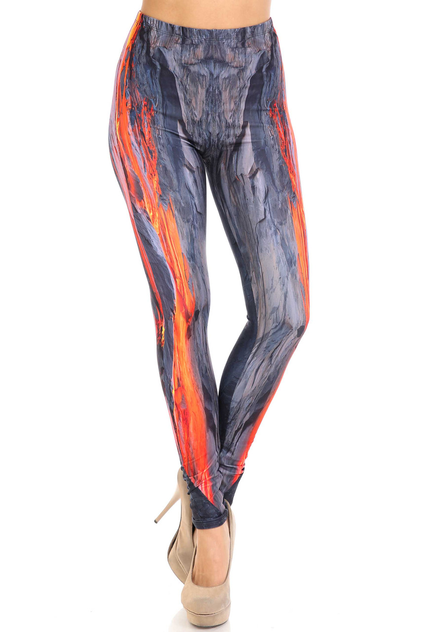 Front view Creamy Soft Hot Lava Plus Size Leggings - By USA Fashion™ with a comfort stretch elastic waist.