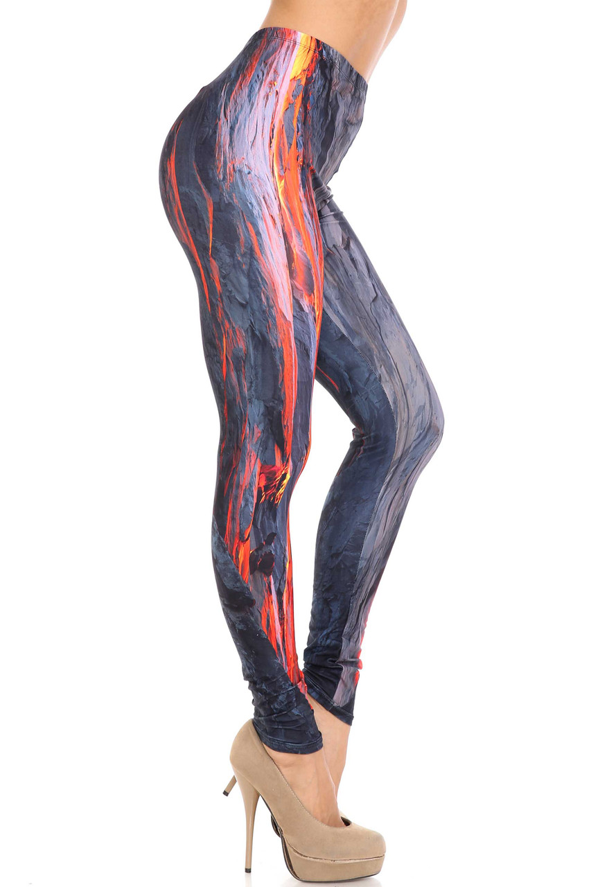 Right side image of Creamy Soft Hot Lava Extra Plus Size Leggings - 3X-5X - By USA Fashion™
