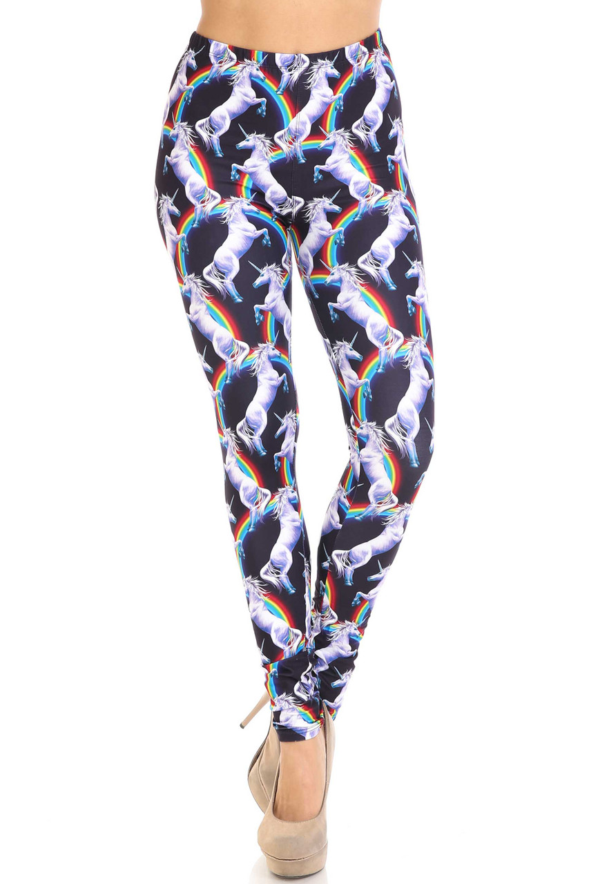 Front view of mid rise Creamy Soft Rainbow Unicorn Leggings - By USA Fashion™ with an elastic stretch waist.