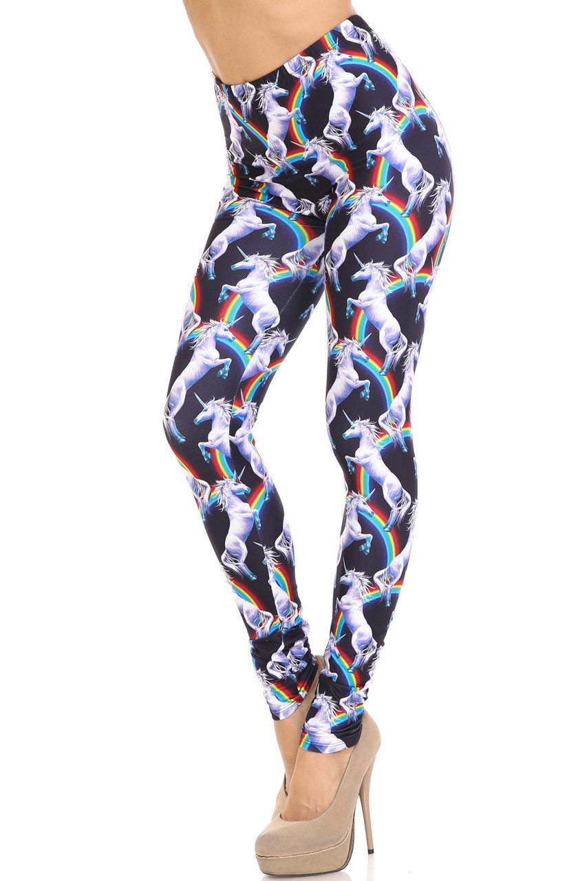 45 degree view of Creamy Soft Rainbow Unicorn Plus Size Leggings - By USA Fashion™ with a sassy and whimsical design.