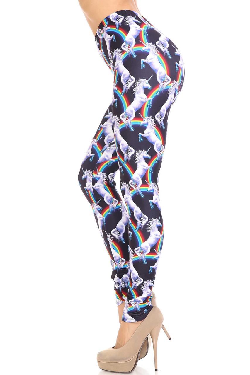 Left side image of Creamy Soft Rainbow Unicorn Plus Size Leggings - By USA Fashion™