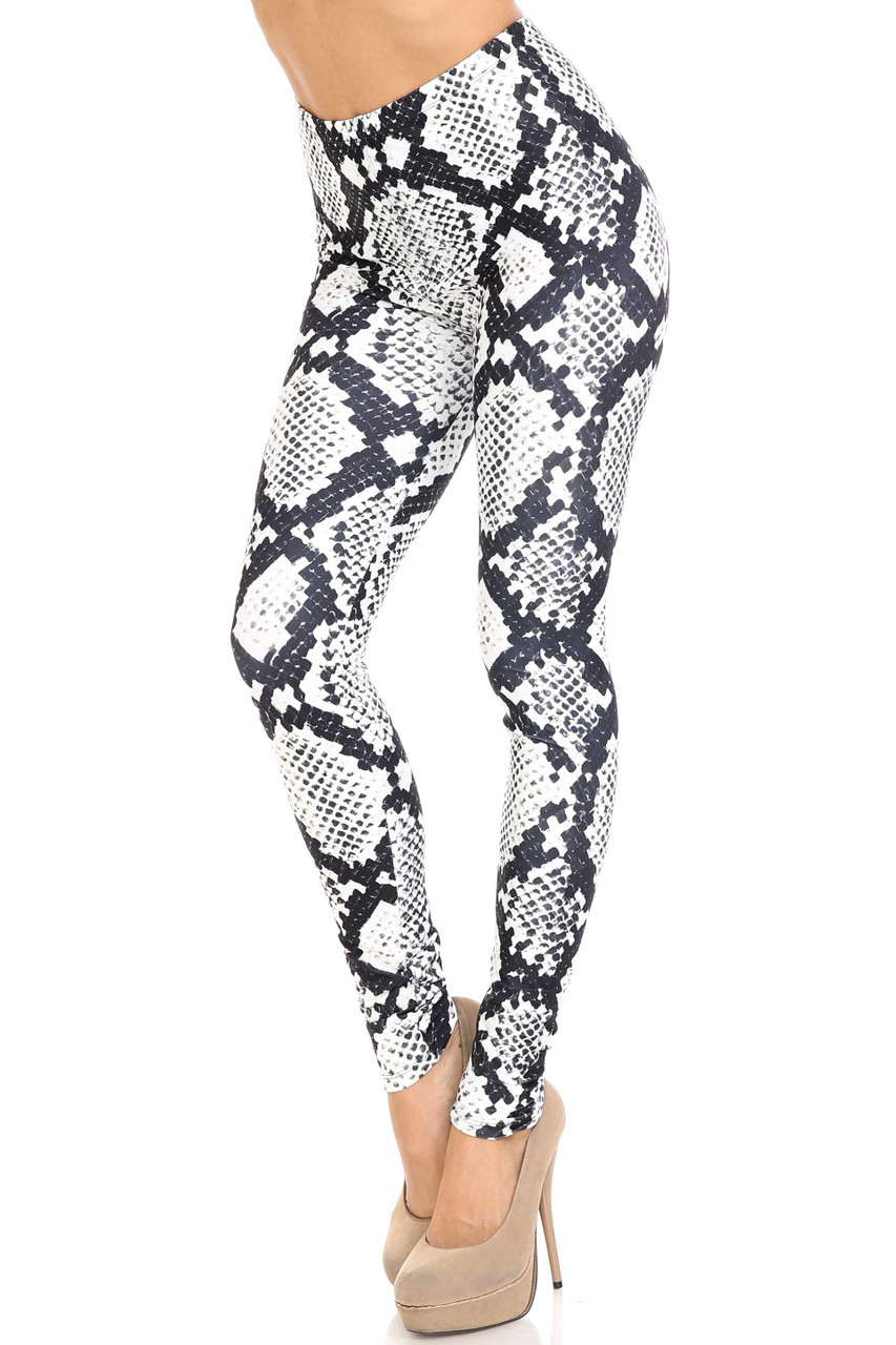 45 degree view of Creamy Soft Black and White Python Snakeskin Plus Size Leggings - By USA Fashion™ featuring an all over monochromatic reptile design.