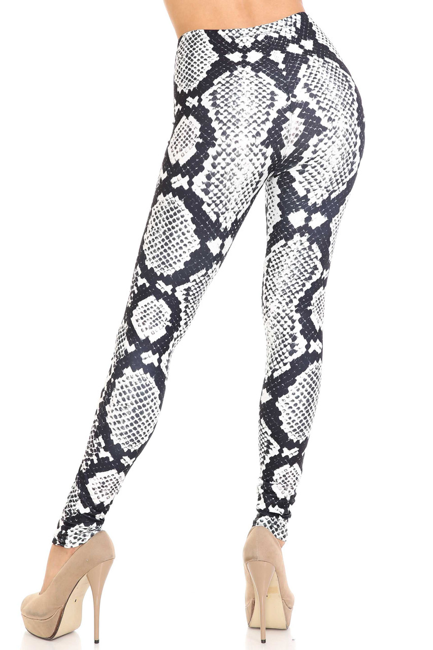Rear view of Creamy Soft Black and White Python Snakeskin Plus Size Leggings - By USA Fashion™ showing a beautiful figure flattering fit.