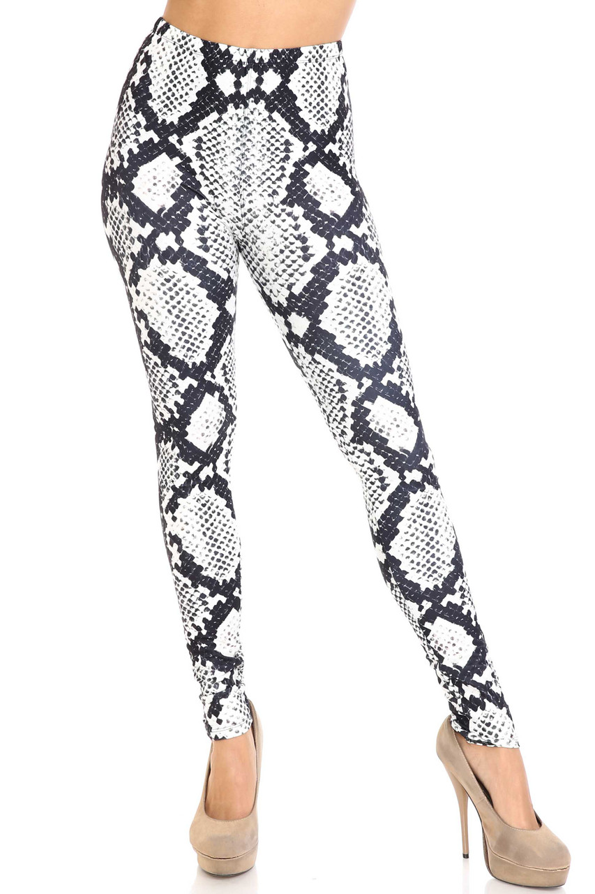Front view of Creamy Soft Black and White Python Snakeskin Plus Size Leggings - By USA Fashion™ with an edgy snakeskin design that can be dressed up or down with a top of any color.