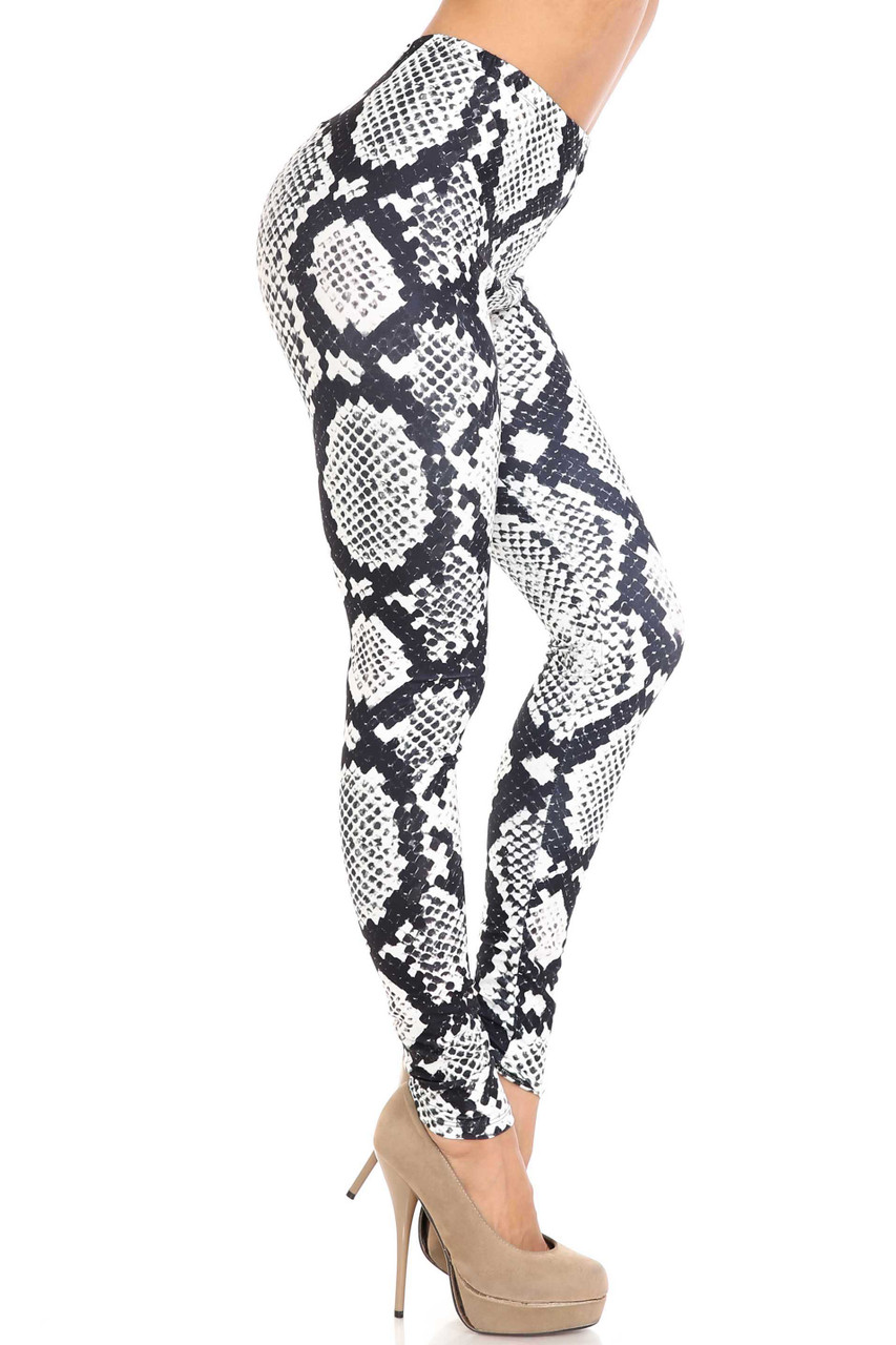 Right side image of Creamy Soft Black and White Python Snakeskin Plus Size Leggings - By USA Fashion™