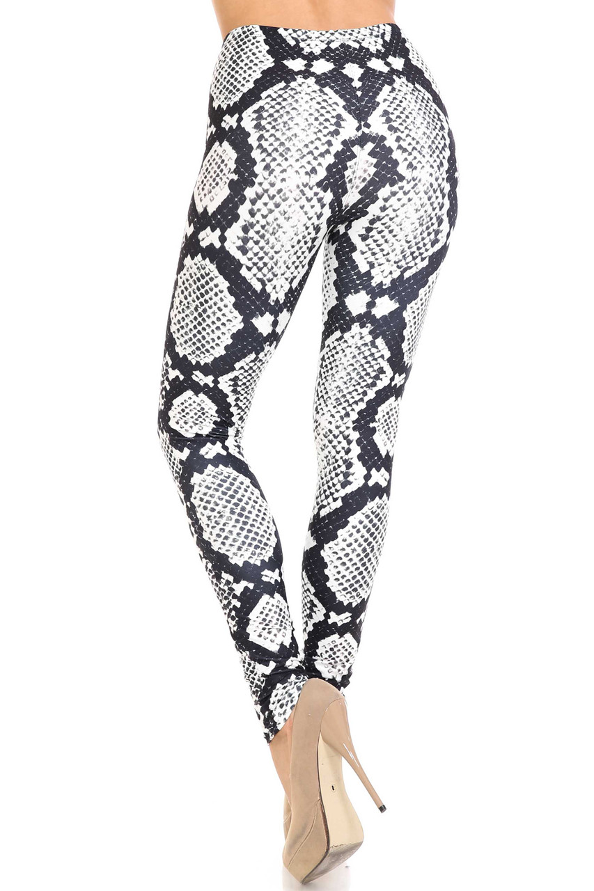 Back view image of Creamy Soft Black and White Python Snakeskin Plus Size Leggings - By USA Fashion™