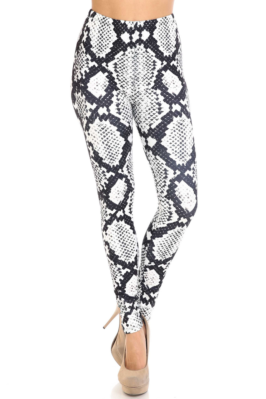 Front view of Creamy Soft Black and White Python Snakeskin Plus Size Leggings - By USA Fashion™ with a mid rise elasticized waist.