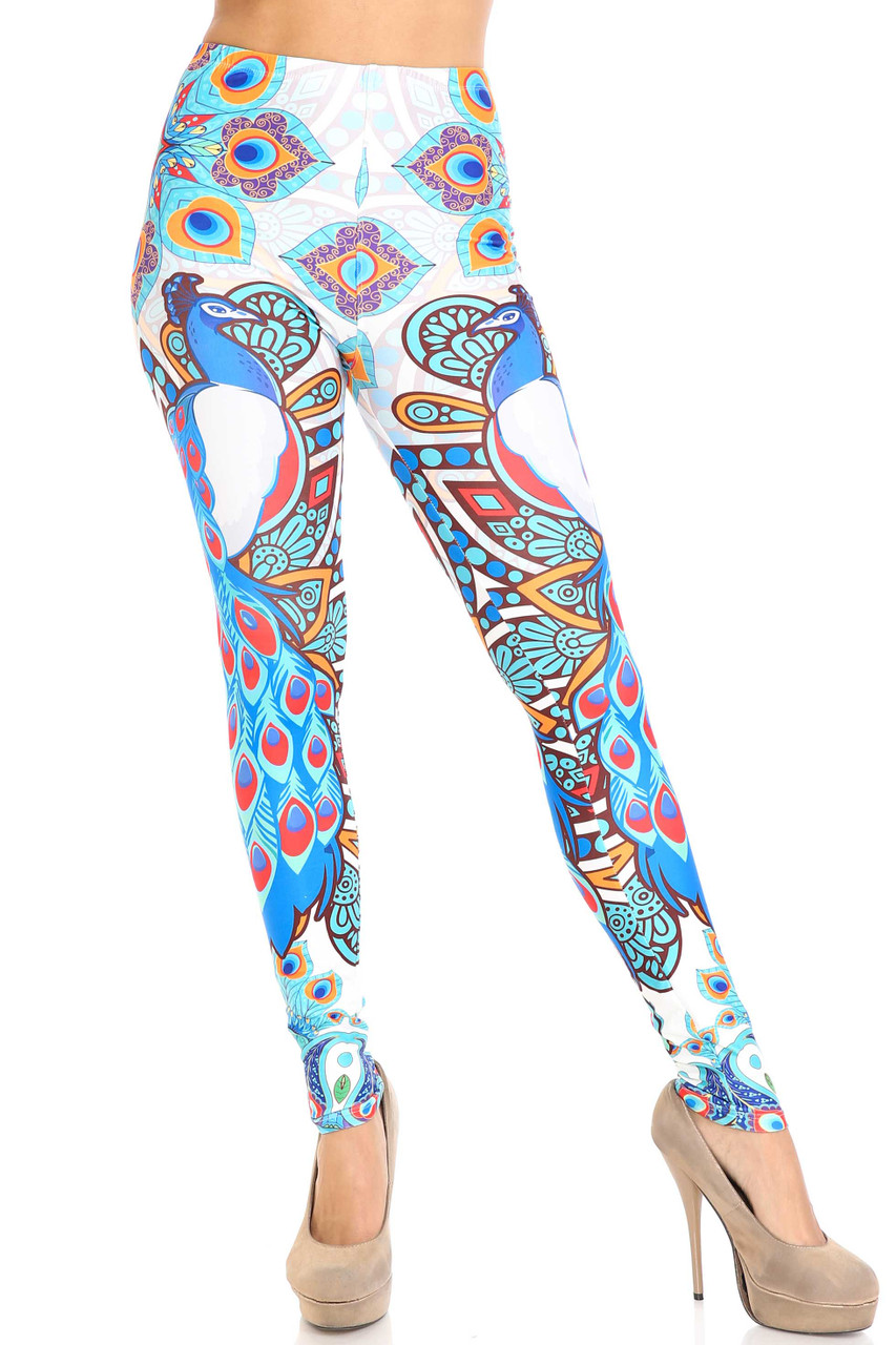 Front view image of Creamy Soft Pristine Peacock Leggings -  By USA Fashion™ with a full length skinny leg hem.