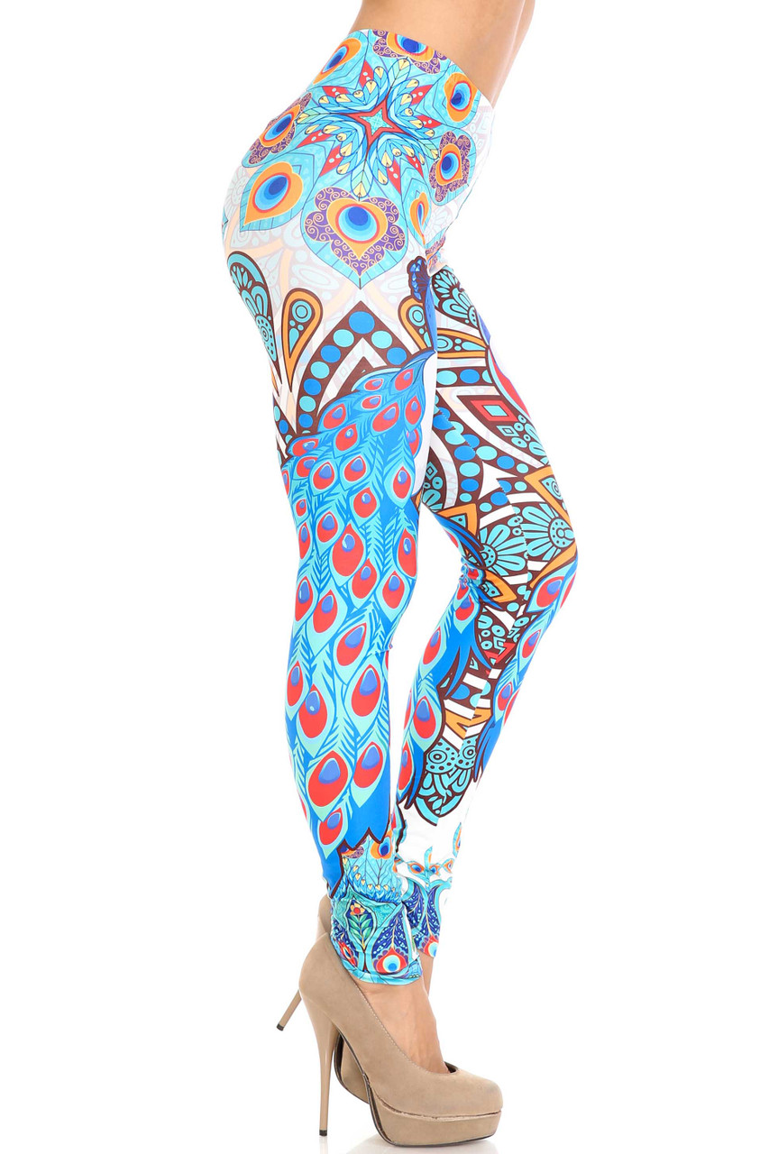 Right side image of Creamy Soft Pristine Peacock Extra Plus Size Leggings - 3X-5X - By USA Fashion™