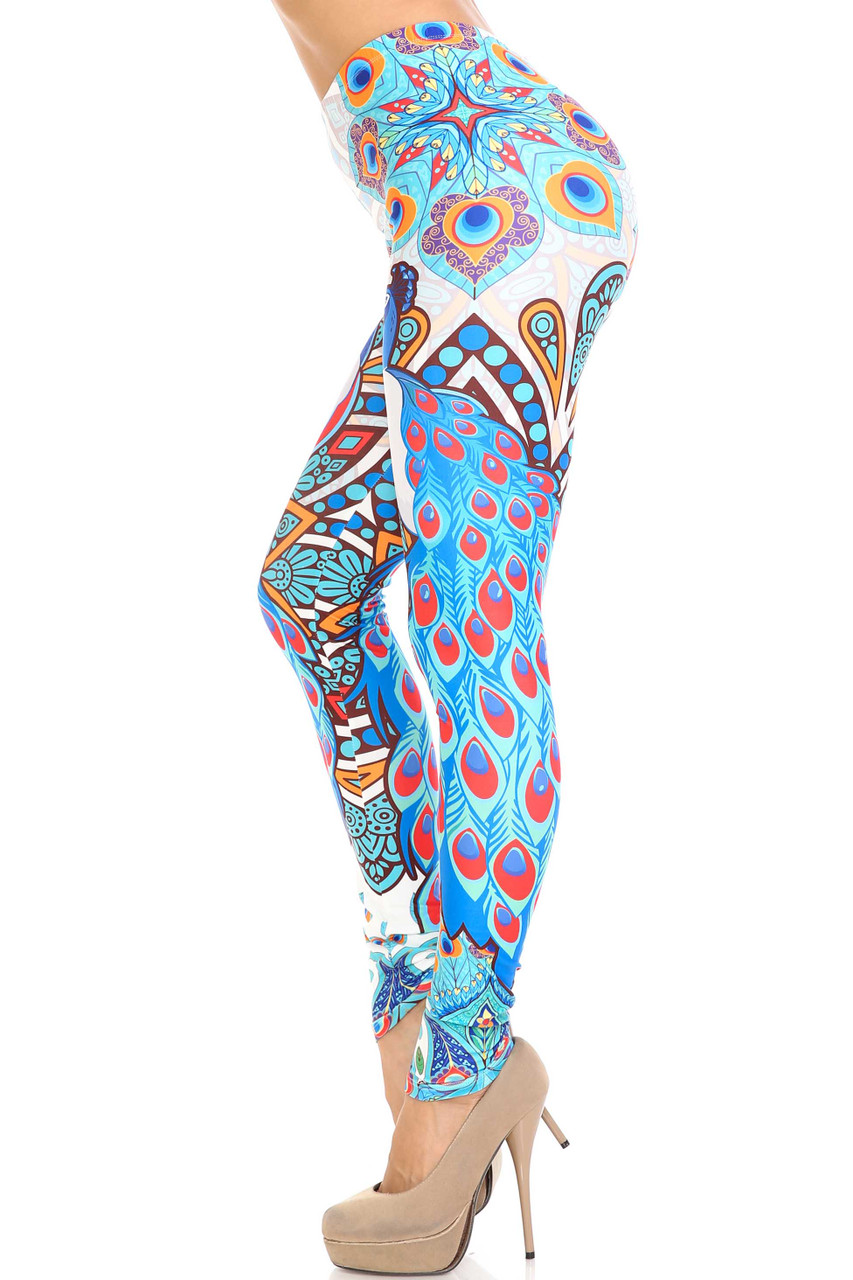 Left side image of Creamy Soft Pristine Peacock Extra Plus Size Leggings - 3X-5X - By USA Fashion™
