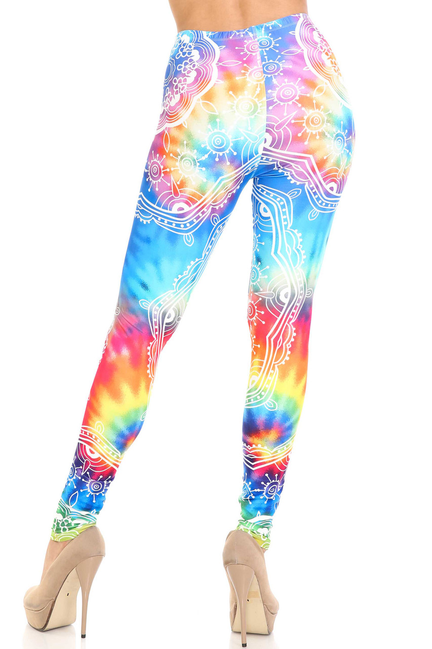 Rear view of Creamy Soft California Tie Dye Extra Plus Size Leggings - 3X-5X - By USA Fashion™ showing off the figure hugging fit.
